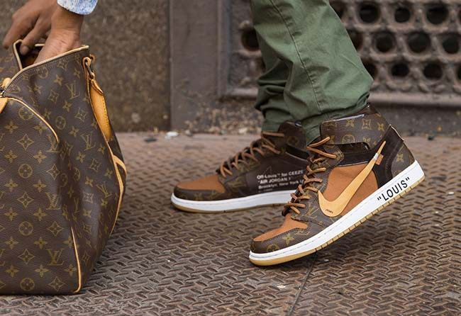 e64a0df633f Custom Louis Vuitton x OFF–WHITE x Nike Air Jordan 1 - $4,000 USD ...