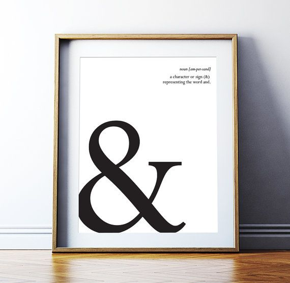 Typography Art Ampersand Printable Art Poster Typography Symbols Ampersand Sign Typography Print Wall Art Giclee Digital Download