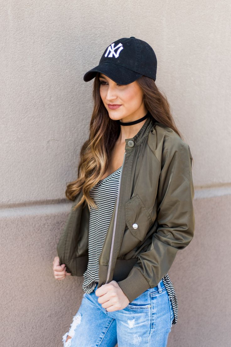 Olive Bomber Jacket Outfit