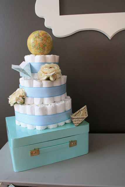 Diaper cake at a Precious Cargo Baby Shower #babyshower #preciouscargo