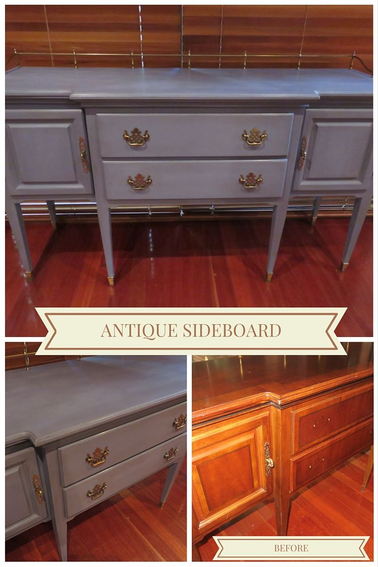 Solid sideboard finished in Old Violet chalk paint. Colour sets off the original handles nicely.