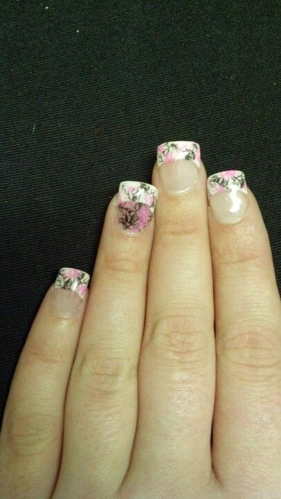 My mom did these pink camo nails for me, not bad for her first attempt at camo!
