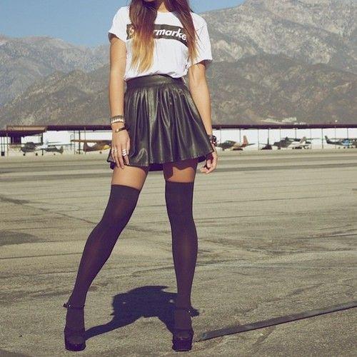knee highs + leather skirt.