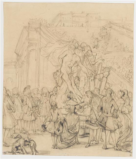 """Paul Delaroche   Etude pour """"Puget présentant son Milon de Crotone"""" au roi Louis XIV   c. 1829"""