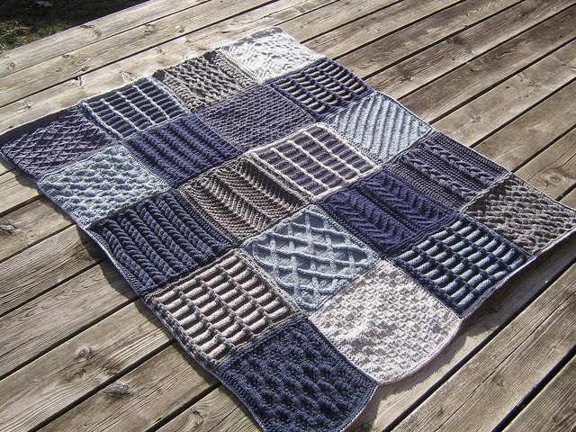 Patchwork knitted throw by Lorena Haldeman & Sharon Emery