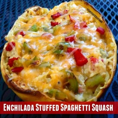 Ripped Recipes - Enchilada Stuffed Spaghetti Squash  - This filling and satisfying stuffed spaghetti squash tastes exactly like an enchilada without the extra calories!