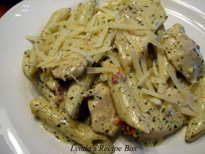 this is amazing....chicken penne with pesto cream sauce..and i would add broccoli