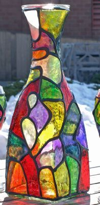 Funky Organic Stained Glass Painted Wine Decanter