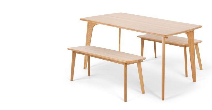 Fjord Set aus Bänken und rechteckigem Esstisch, Eiche ► Neues Design für dein Zuhause! Entdecke jetzt Tische von klein bis groß bei MADE.