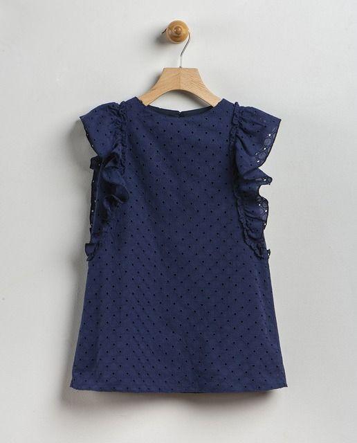 ea689720a Vestido de niña Coco Acqua en azul marino con bordado   vestido ...
