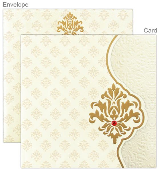 Off white and gold indian wedding invitation