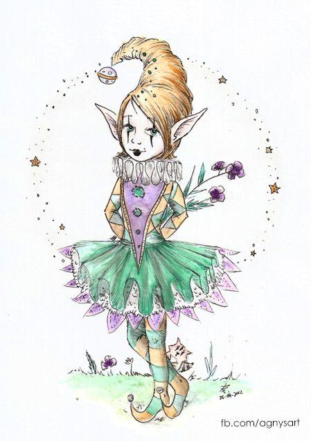 """""""Meryl, The Harlequin"""" #Watercolor #Circus #Girl"""