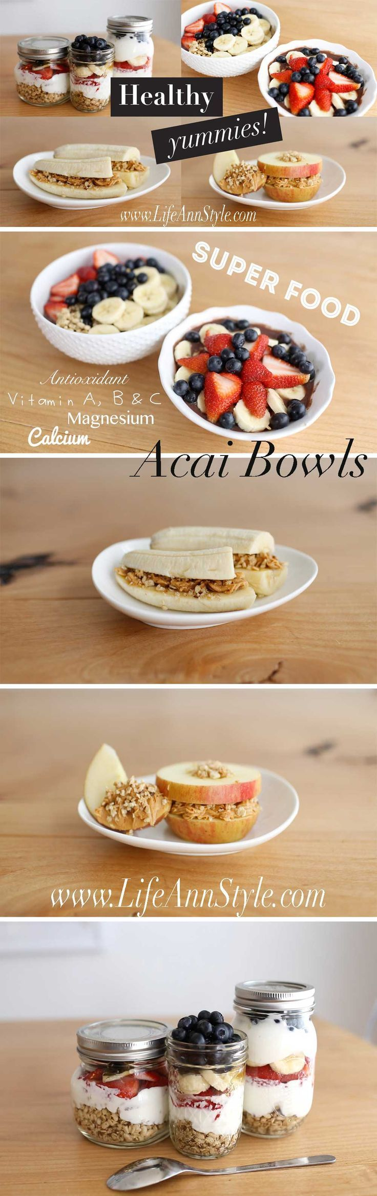 Here are some Healthy Summer Recipes yoyo can make yourself!  – Acai fruit Bowl, Fruit Sandwiches and Yogurl Parfait in a jar (to go Treat)!   lifestyle DIY