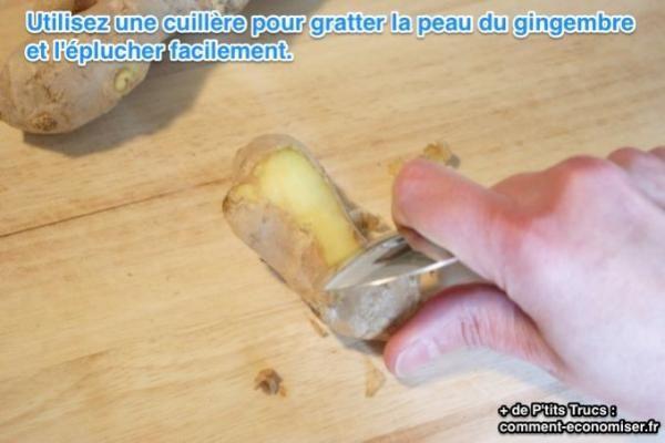 astuce éplucher le gingembre facilement avec une cuillère