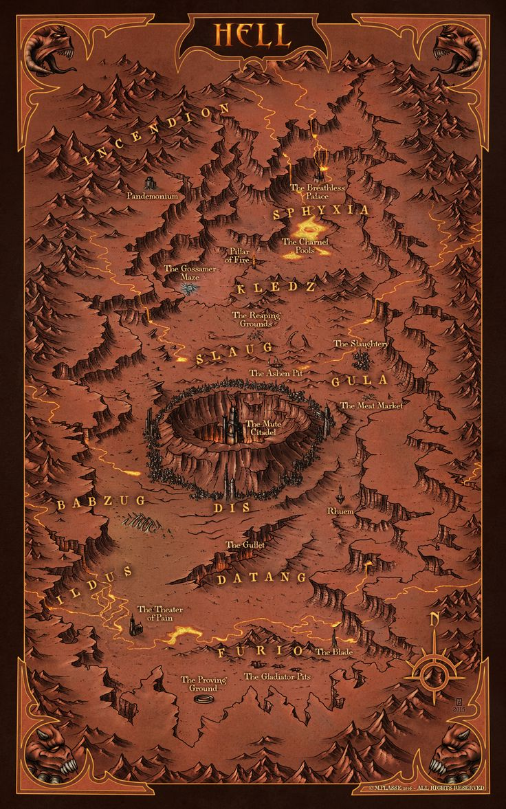 Hell - Commission for Gun Metal Games © M.PLASSE 2016 map cartography | Create your own roleplaying game material w/ RPG Bard: www.rpgbard.com | Writing inspiration for Dungeons and Dragons DND D&D Pathfinder PFRPG Warhammer 40k Star Wars Shadowrun Call of Cthulhu Lord of the Rings LoTR + d20 fantasy science fiction scifi horror design | Not Trusty Sword art: click artwork for source