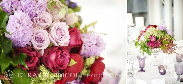 Bursts of pink, purple, red and green! Bright and bold bouquets for a modern and fresh wedding reception