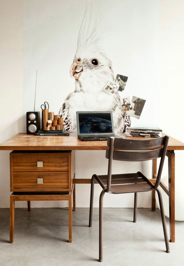 Love the bird drawing in the back ground. Make something you're really into a large focal point and simple.
