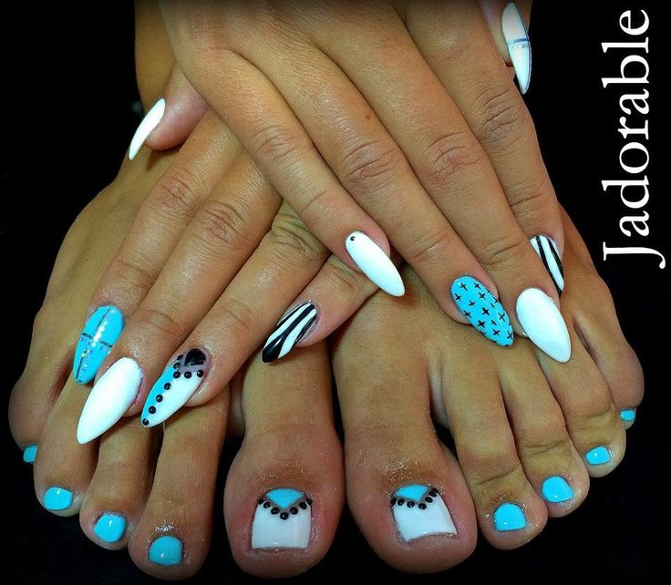 Almond Blue-White nails & Pedicure !!