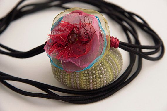 organza flower necklace with ribbon long style by anypearljewelry