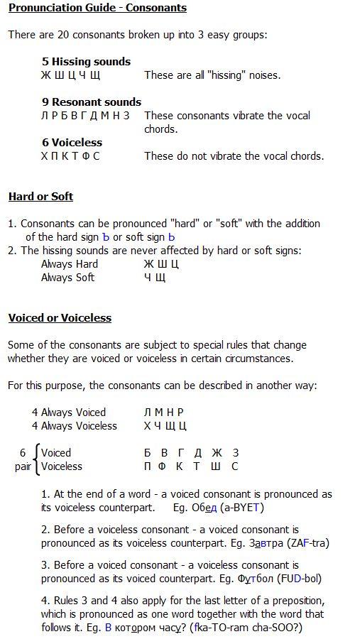 Pronunciation Guide - Consonants