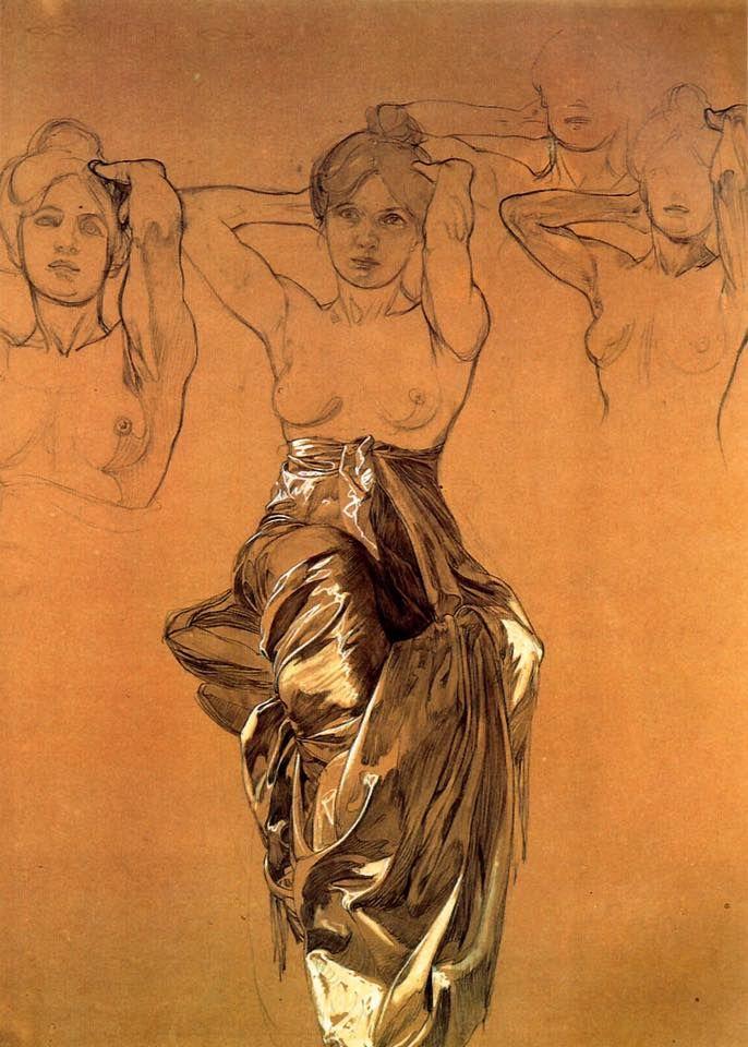 """Study of Drapery"" by Alphonse Mucha, gouache, 1900"
