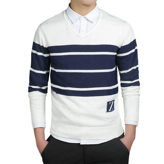 Striped Winter White Sweaters Men Cashmere Pullovers Men Sweater Cotton Pattern Work Plus Size