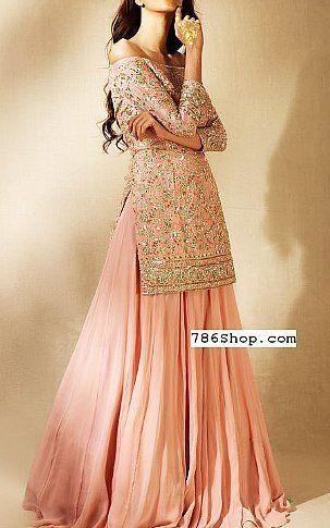 Pink Crinkle Chiffon Suit | Buy Pakistani Designer Fashion Dress