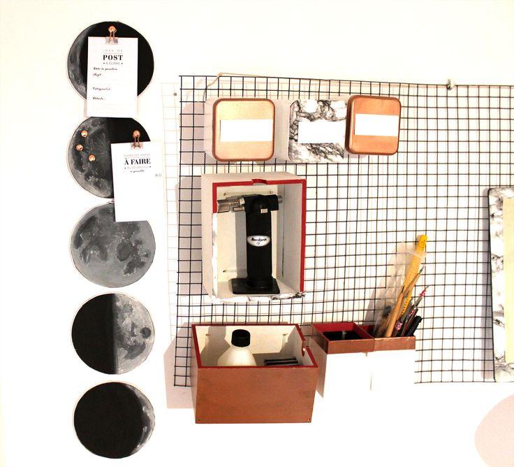 DIY Tableau de liège en forme de phases lunaire