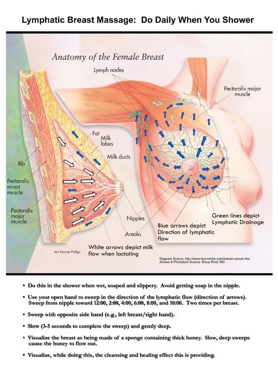 lymphatic breast massage--congestion can occur from wearing bras, especially underwire. aps