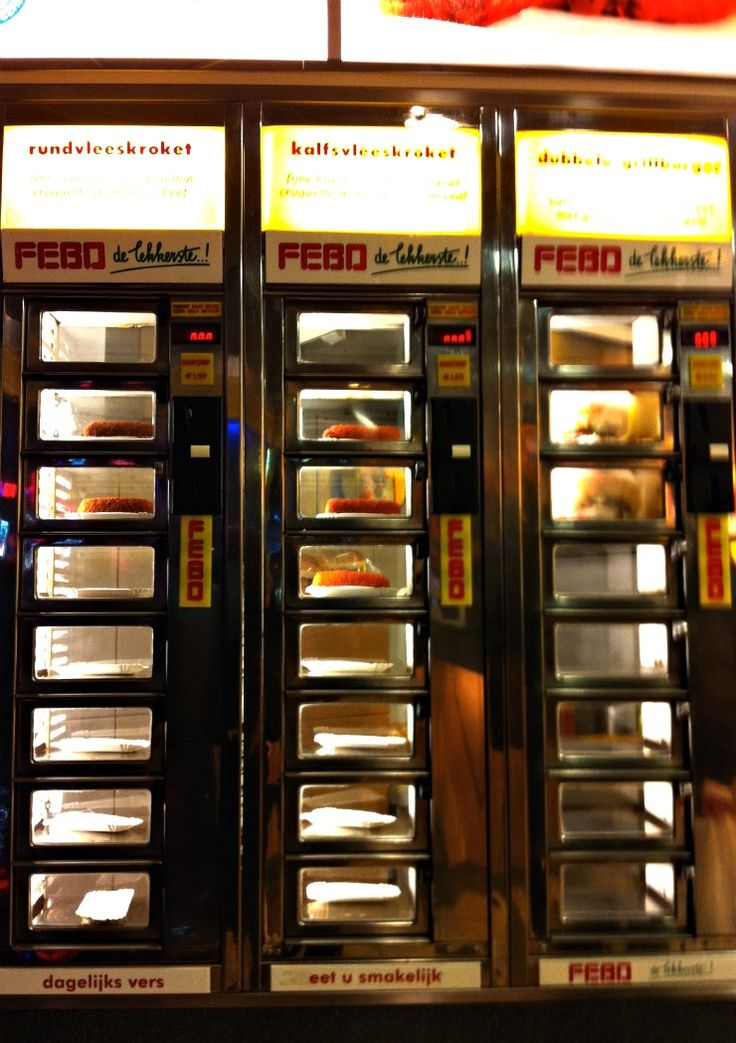 When you're in #Amsterdam, you need to throw 1.50 Euro into the automat machine and munchies at Febo | http://www.rtwgirl.com/dutch-snacks-munchies-amsterdam/