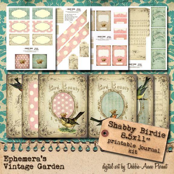 ON SALE Printable Full Page Journal Kit  Shabby by EphemerasGarden, $8.06