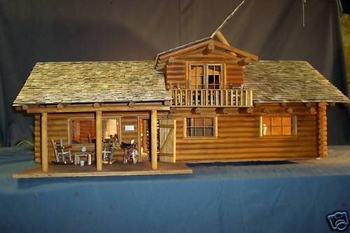 "Western Log Dollhouse Kit ""Montana Bunk House"" | eBay"