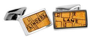 Flinders Lane vintage street directory cufflinks in sterling silver - $150