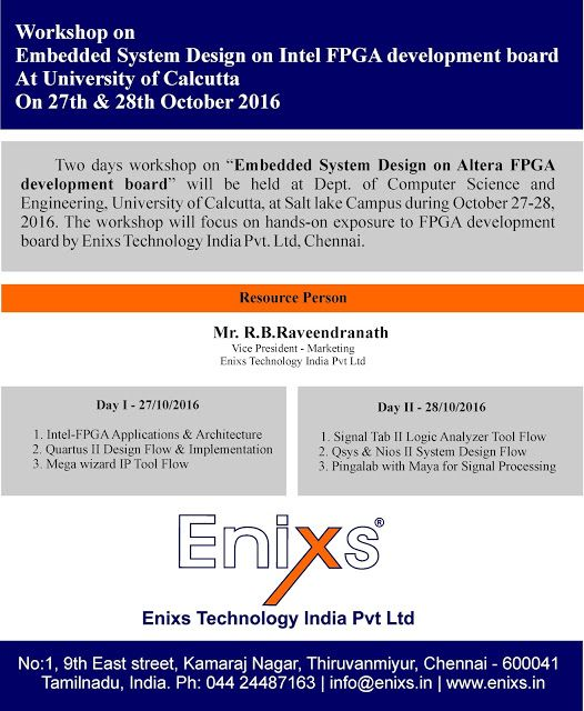 Enixs Technology Conducting Intel FPGA Workshop at University of Calcutta on 27th & 28th Oct 2016.