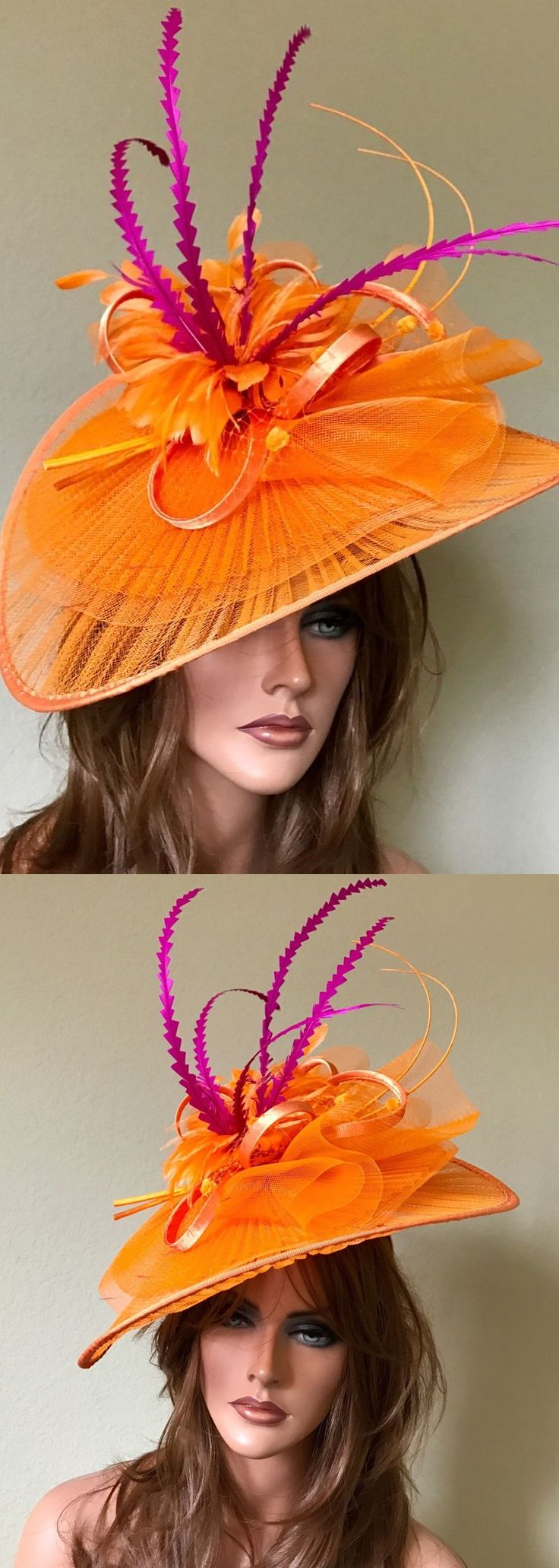 Big Fuchsia + Orange Kentucky Derby Mother of the Bride Hat. Kentucky Derby Royal Ascot Racing Style. Showstopping Hats for the Races Outfits. Spring summer mother of the bride hat. Ascot Kentucky derby outfit ideas. #royalascot #kentuckyderby #derbyhats #racingfashion #fashionsonthefield #hatsfortheraces #millinery #ascothats #dubaiworldcup #fashion #fashionista #derbydayoutfits #kentuckyderbyparty #springwedding #weddingideas #weddinginspiration #affiliatelink #motherofthebride