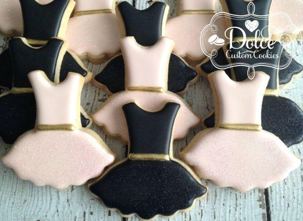 Tutu Dress Ballet Ballerina Elegant Sparkly Gold Birthday Cookies - 1 Dozen (12 Pcs) by Dolce Custom Cookies on Gourmly