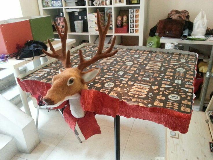 Christmas discounts table. The reindeer brings discounts