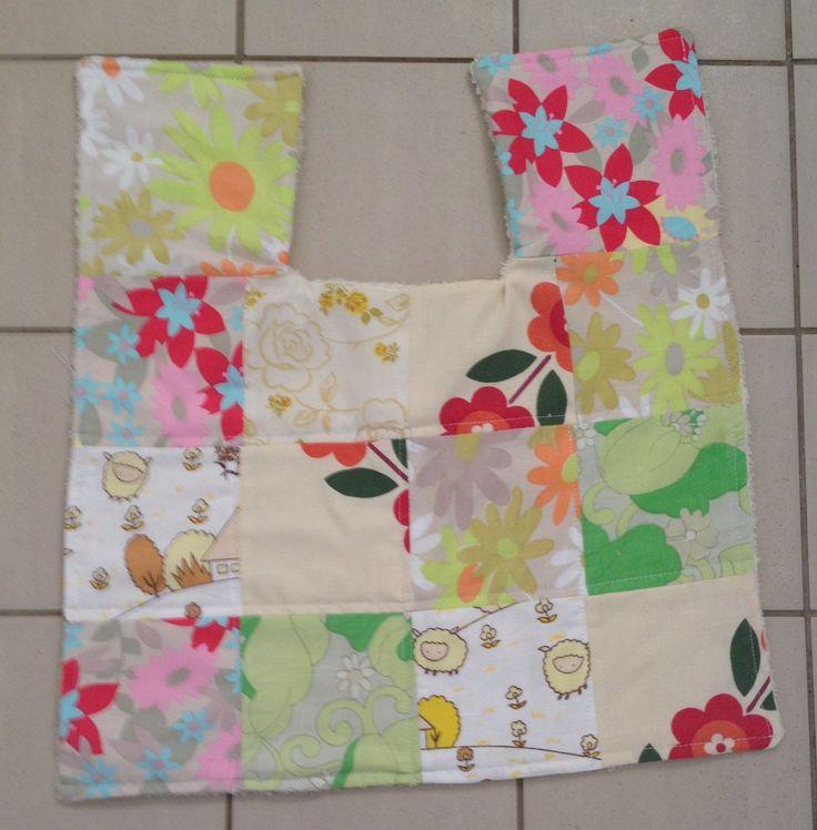 Contour vintage sheet patchwork bath mat, upcycled towel backing