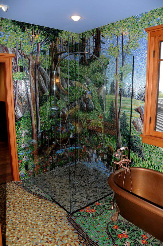 Large bathroom wall mural covering three walls of a private residence in Kauai, HI. The walls are approximately 250 square feet and the floor is approximately 100 square feet.