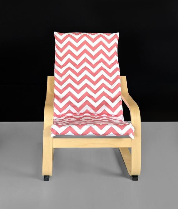 Coral Pink Zig Zag Kids Ikea Poang Chair Cover Red Chevron Ikea Kids Poang Seat Cover Ikea Chair Cushions Outdoor Dining Chair Cushions Vintage Chairs