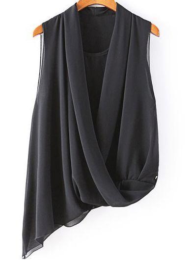 Black V Neck Sleeveless Asymmetrical Chiffon Blouse - abaday.com