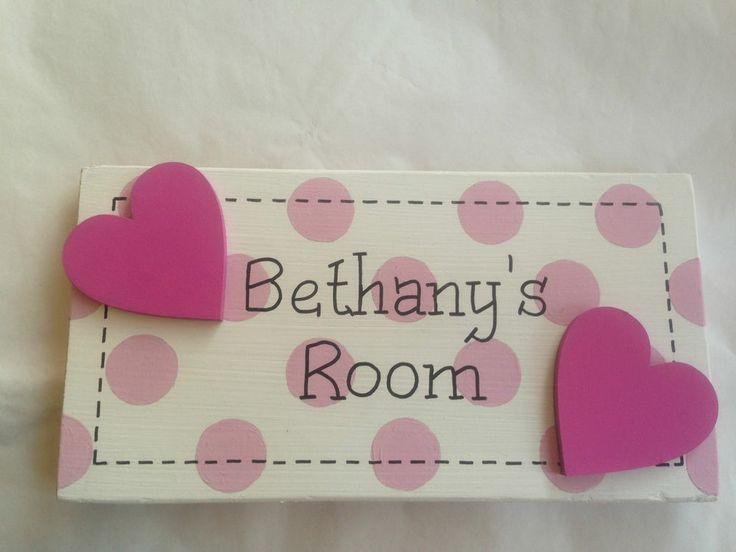 Personalised children s name bedroom door wall sign plaques for girls   Polka Dot. 9 best Door signs images on Pinterest   Door plaques  Door signs
