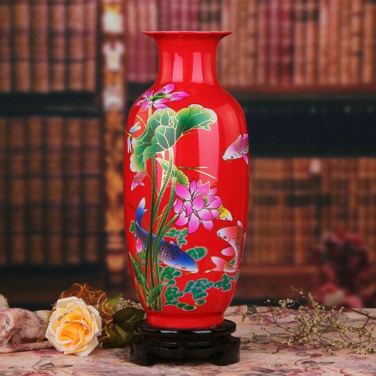 >> Click to Buy << Jingdezhen ceramics Chinese red lotus fish Higashiuri vase ornaments factory wholesale fashion modern Home Furnishing #Affiliate