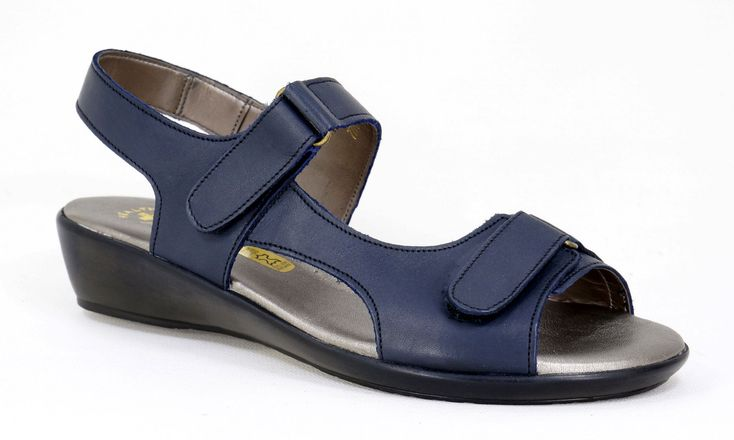 Natural Steps Handmade Genuine Leather health range Sandal with Velcro straps. R 619. Colour: Navy Handcrafted in Durban, South Africa.  Code: 418