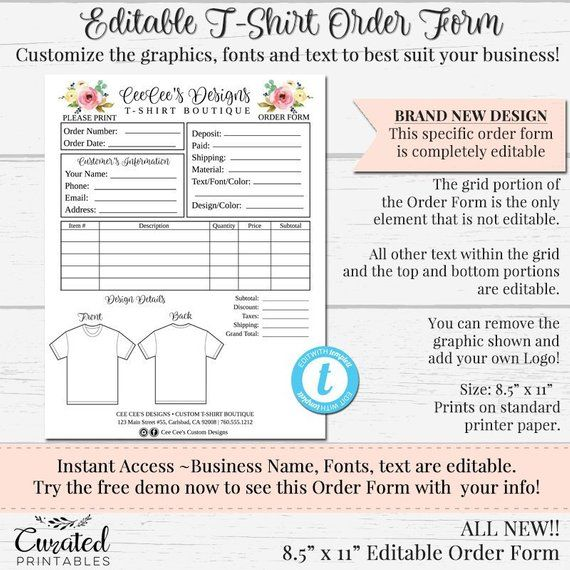 New T Shirt Order Form Customizable Order Form Editable Etsy Shirt Order Order Form Order Form Template