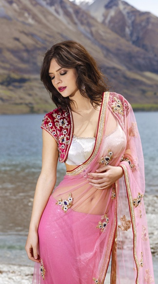 Baby pink sari from Seasons with blouse and jacket. ~ Indian Designer Sari