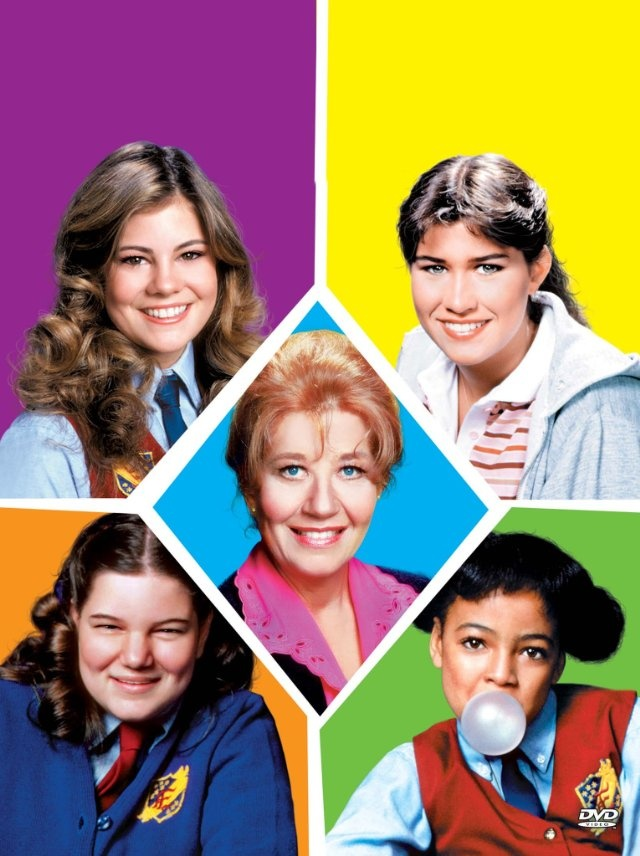 Still of Nancy McKeon, Kim Fields, Mindy Cohn, Charlotte Rae and Lisa Whelchel in The Facts of Life
