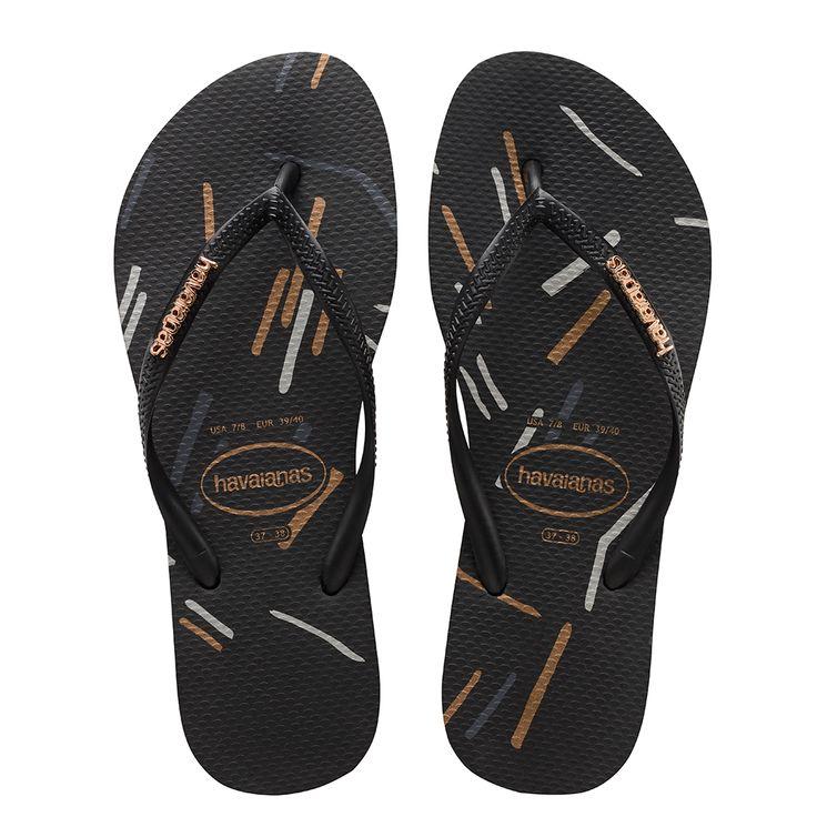 Havaianas Slim Logo Metallic Fine Lines Sandal Black/Rose Gold  Price From: 26,90€