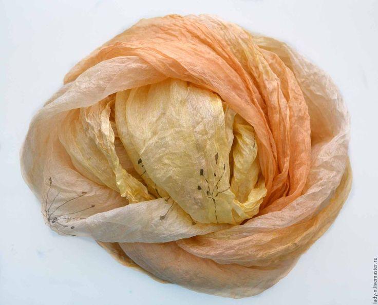 """Купить Палантин """"Солнечно"""", батик, натуральный шелк, недорого - романтический стиль, красивый палантин"""