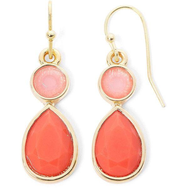 Liz Claiborne Orange Stone Gold-Tone Double-Drop Earrings found on Polyvore